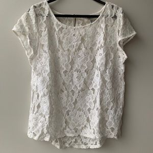 EVER NEW White Floral Lace Top